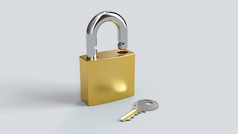 photo of padlock and key