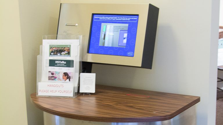 photo of library kiosk