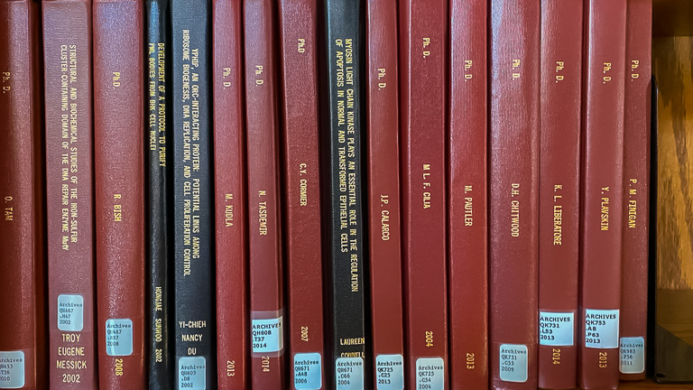 photo of phd thesis bindings on shelf