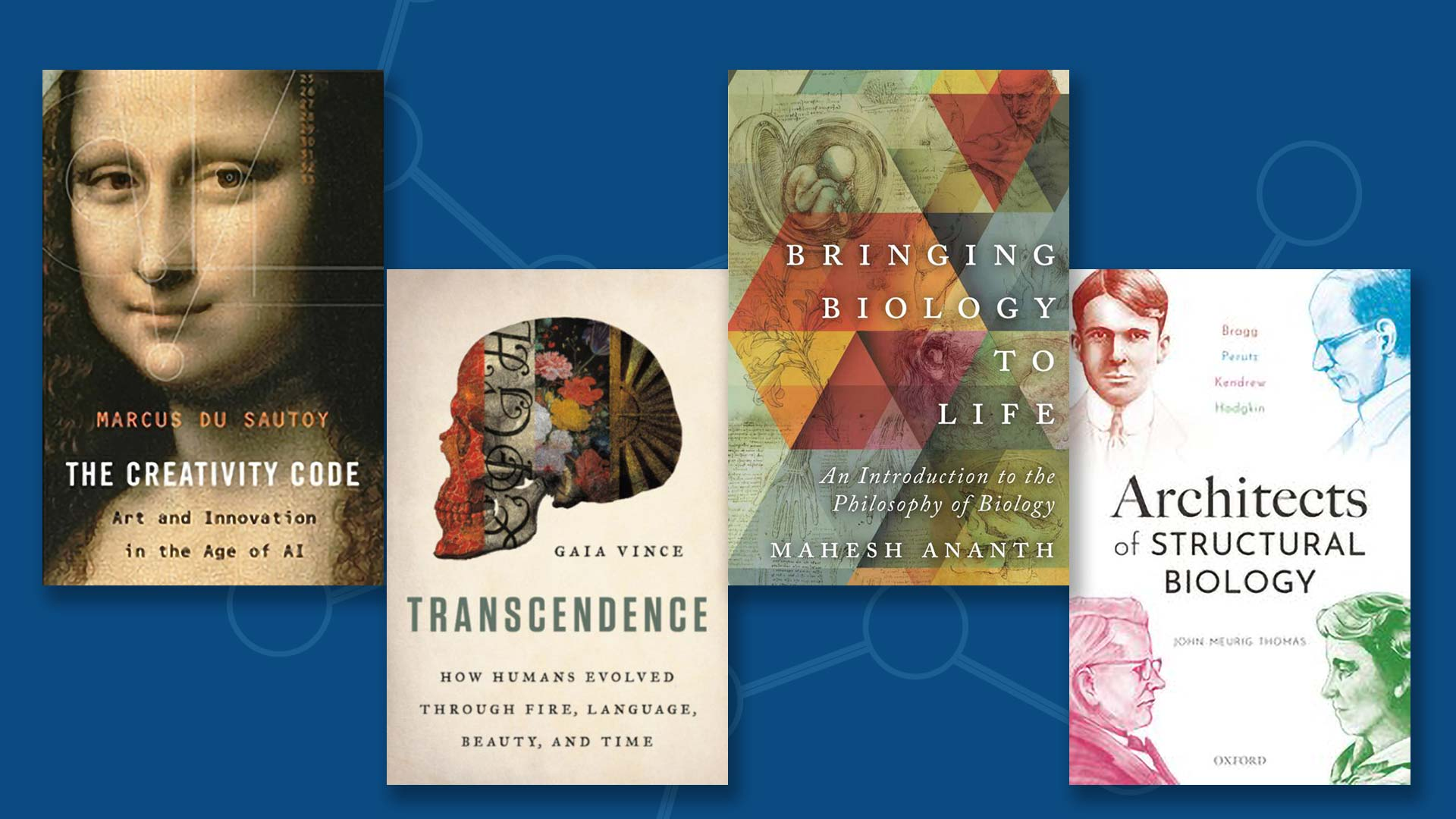 image of the covers of 4 new books from the CSHL Library