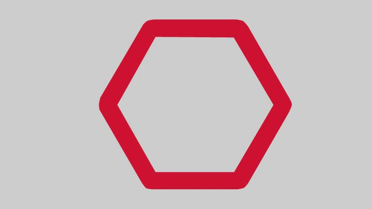 image of a red hexagon on a grey background