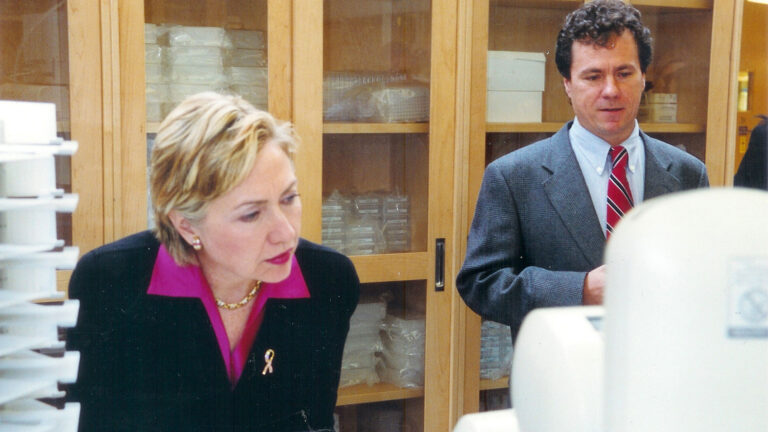 photo of Hillary Clinton and Scott Lowe