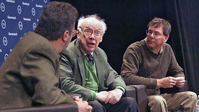 photo of Richard Scheller, James Watson, and Arthur Levinson