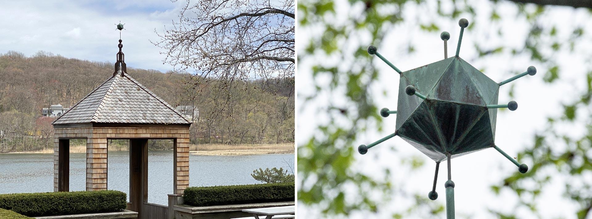 photos of the CSHL adenovirus weathervane atop the gazebo
