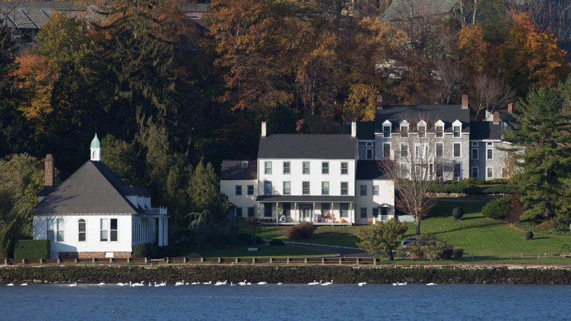 photo of the Cold Spring Harbor Laboratory campus and seawall