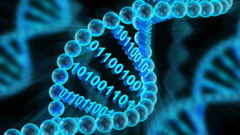 3D illustration of DNA molecules with binary code