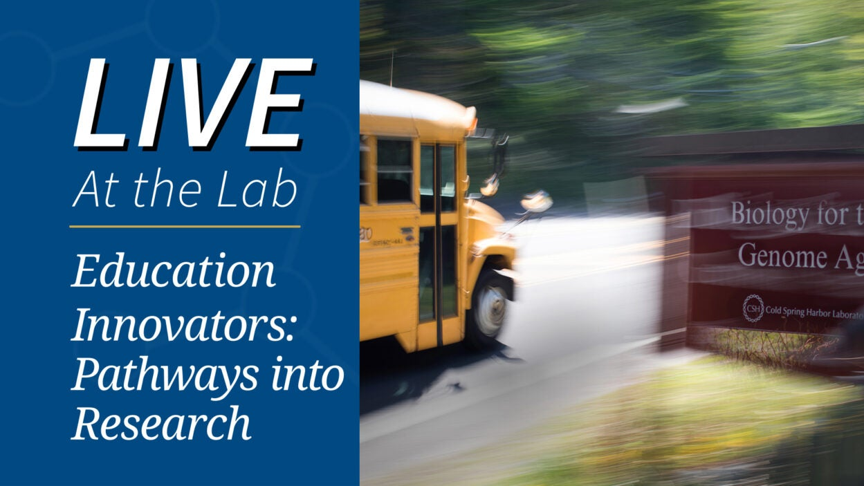image of school bus passing Cold Spring Harbor Laboratory sign