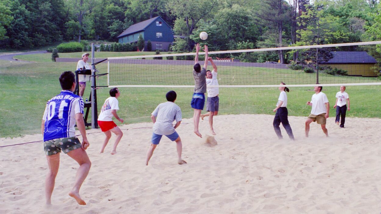 photo of CSHL volleyball participants playing on sand court 2001