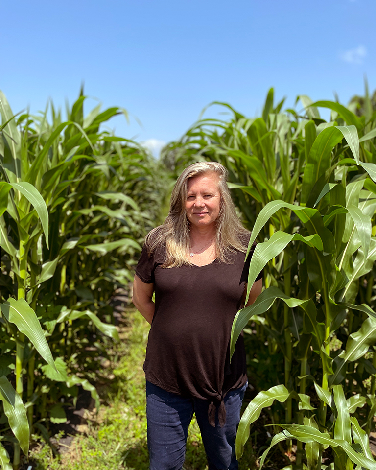 photo of Doreen Ware standing in a cornfield at CSHL Uplands Farm