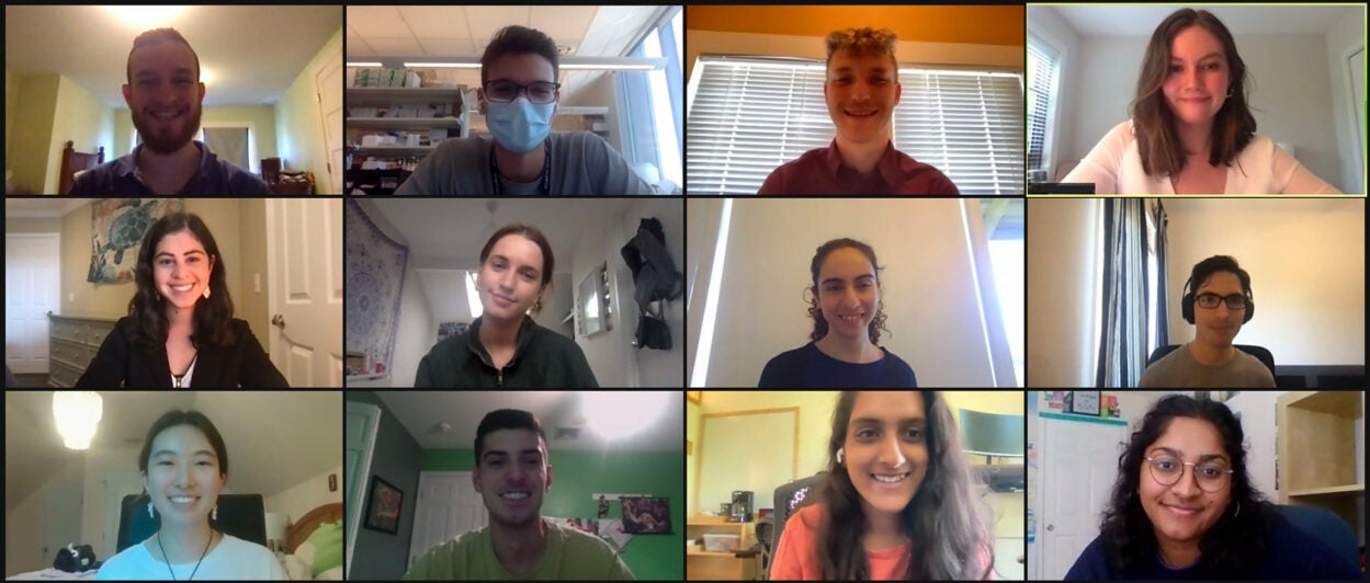 screen capture of 2021 URP participants during a Zoom call