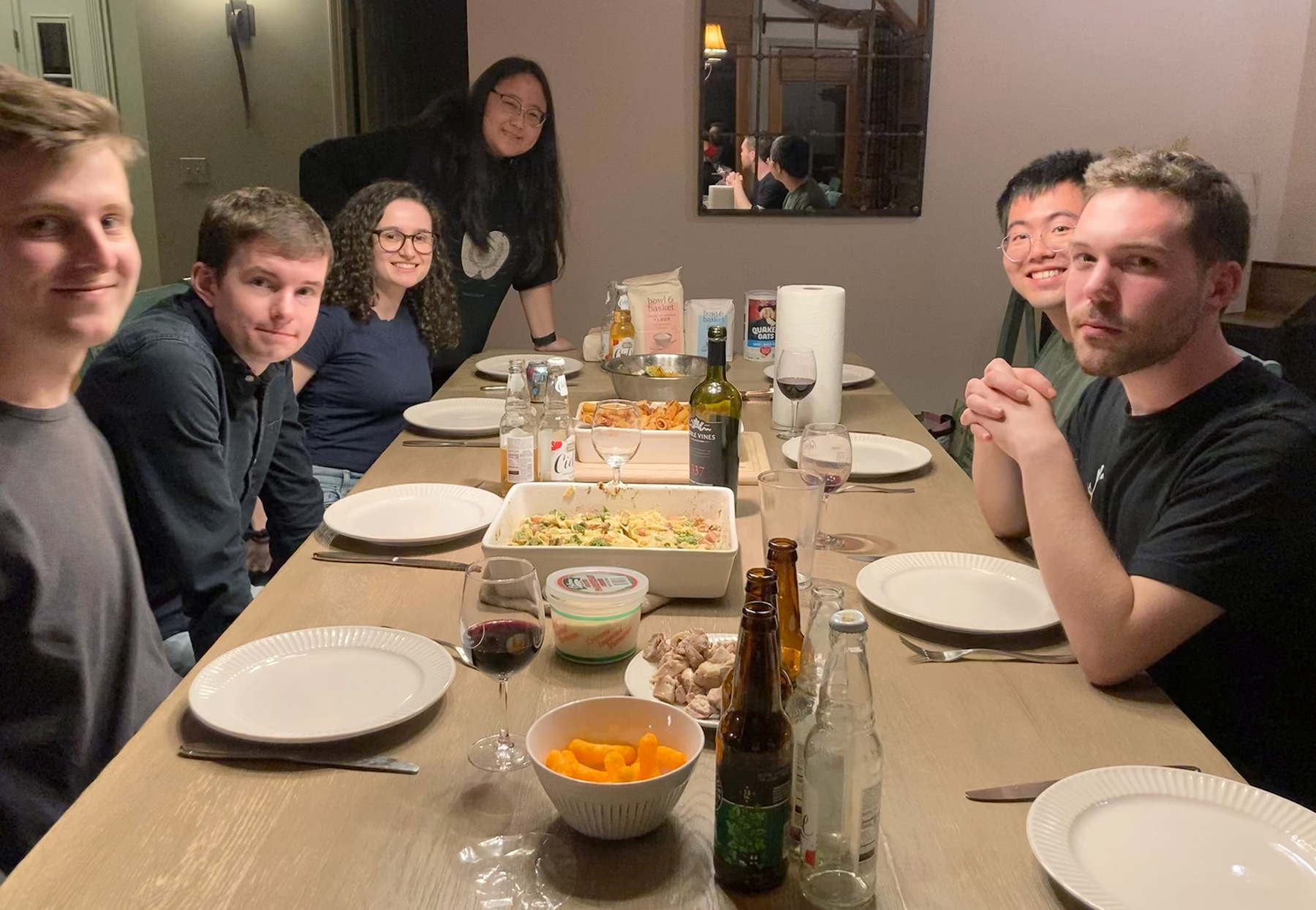 photo of first year Grad students having dinner