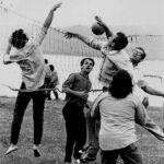 photo of volleyball players from 1970 CSHL Symposium