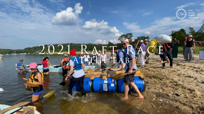 photo of CSHL employees launching their rafts in the harbor