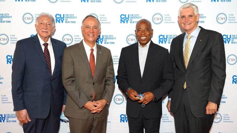 photo of Technology Russell Hotzler, Félix V. Matos Rodríguez, Eric Adams, and Bruce Stillman
